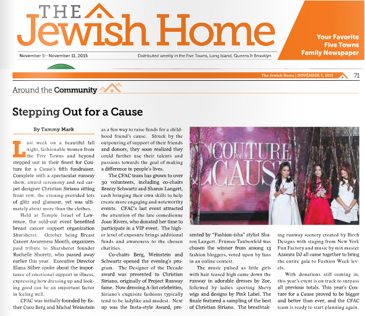 Stepping Out for a Cause-The Jewish Home